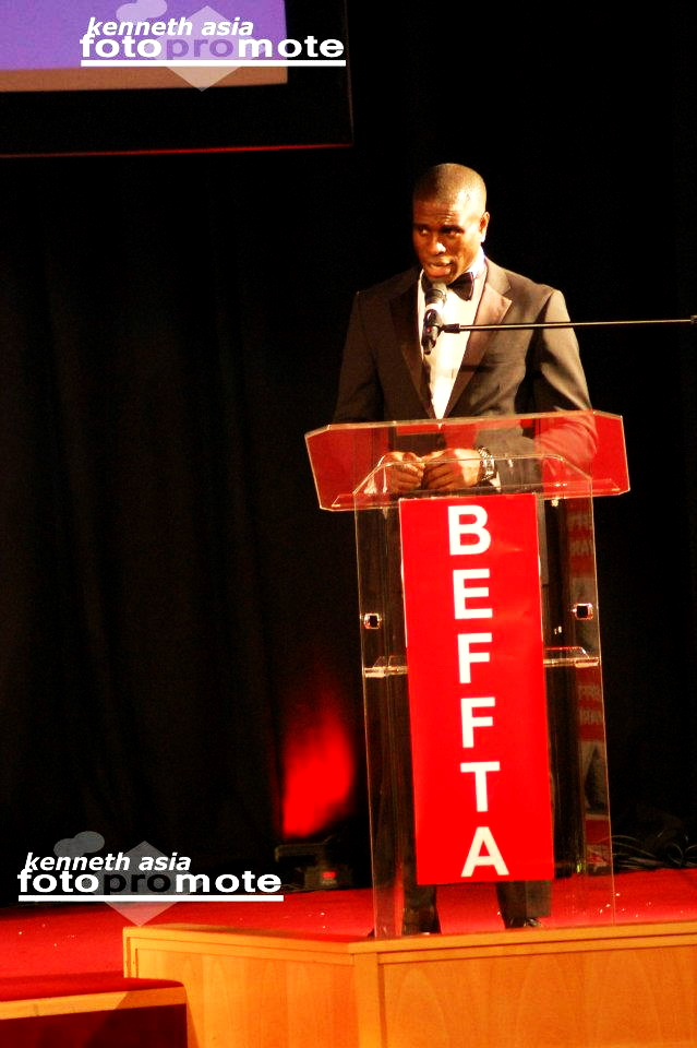 BEFFTA Best Male Model winner Dwain Stephens giving  his acceptance at the 3rd annual BEFFTA UK awards