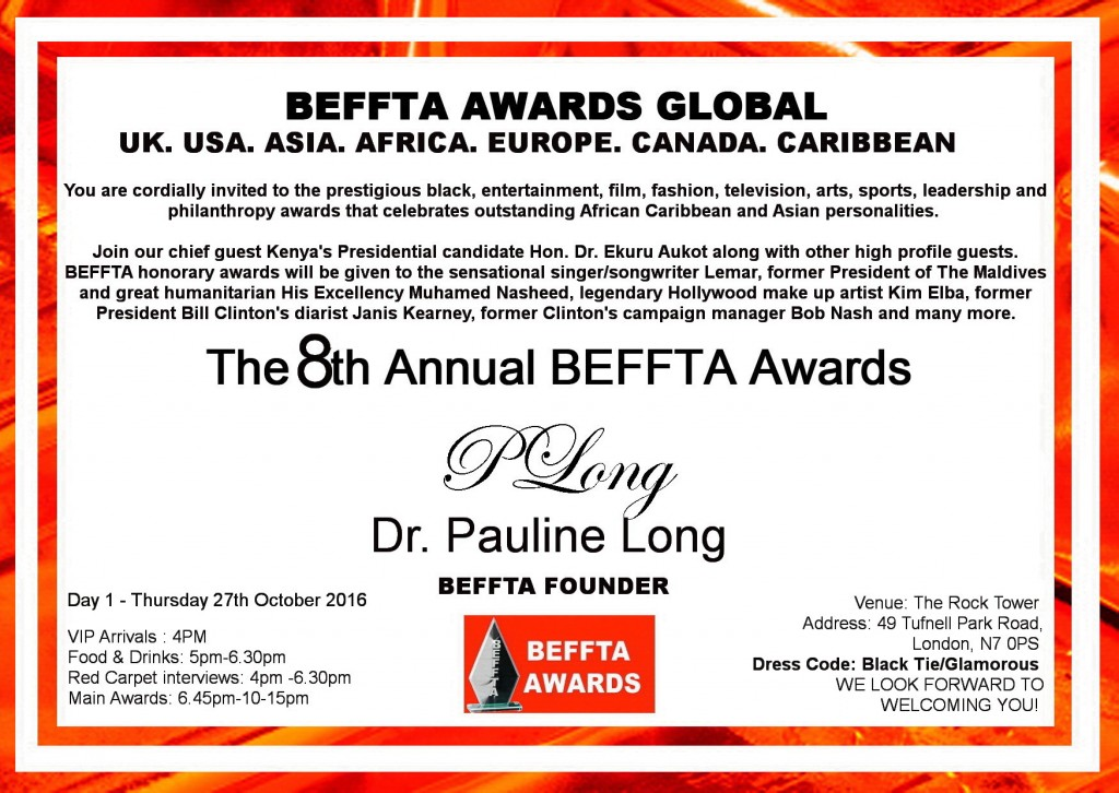 8TH Annual BEFFTA UK VIP INVITE DAY ONE - 27TH OCTOBER 2017