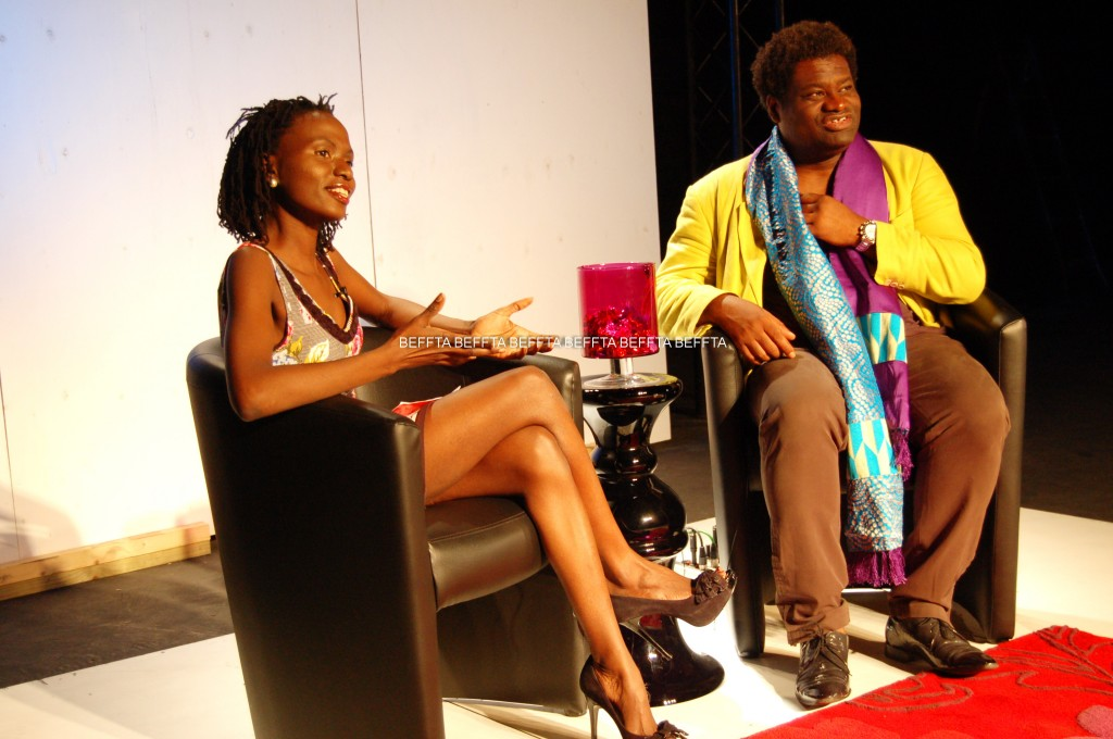 Pauline Long interviewing creative director Ola Shobowale at the BEFFTA TV show set