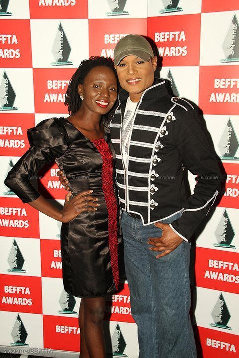 CEO and Founder of BEFFTA awards Paulne Long and Popstar Stedman Pearson of the pop group Five Star