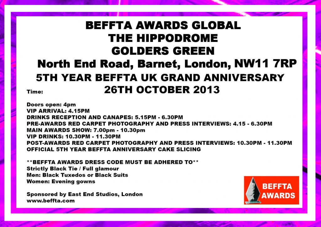 PURPLE BEFFTA INVITE 26TH OCTOBER - BEFFTA 2013