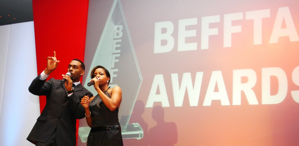 Richard Blackwood and Miss London hosting the inaugural BEFFTA awards