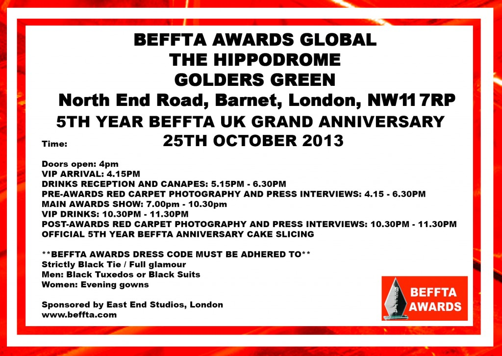 RED BEFFTA INVITES 25TH OCTOBER  - BEFFTA UK 2103