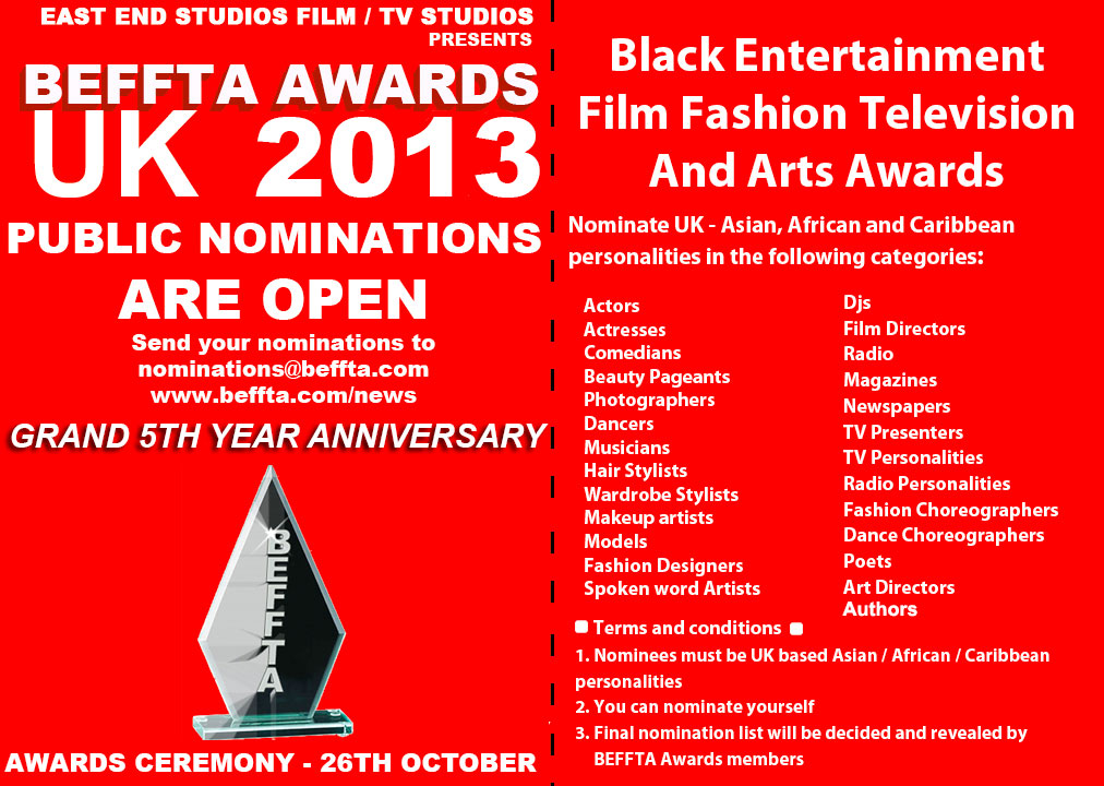 BEFFTA UK 5TH YEAR GRAND ANNIVERSARY - PUBLIC NOMINATIONS 2013