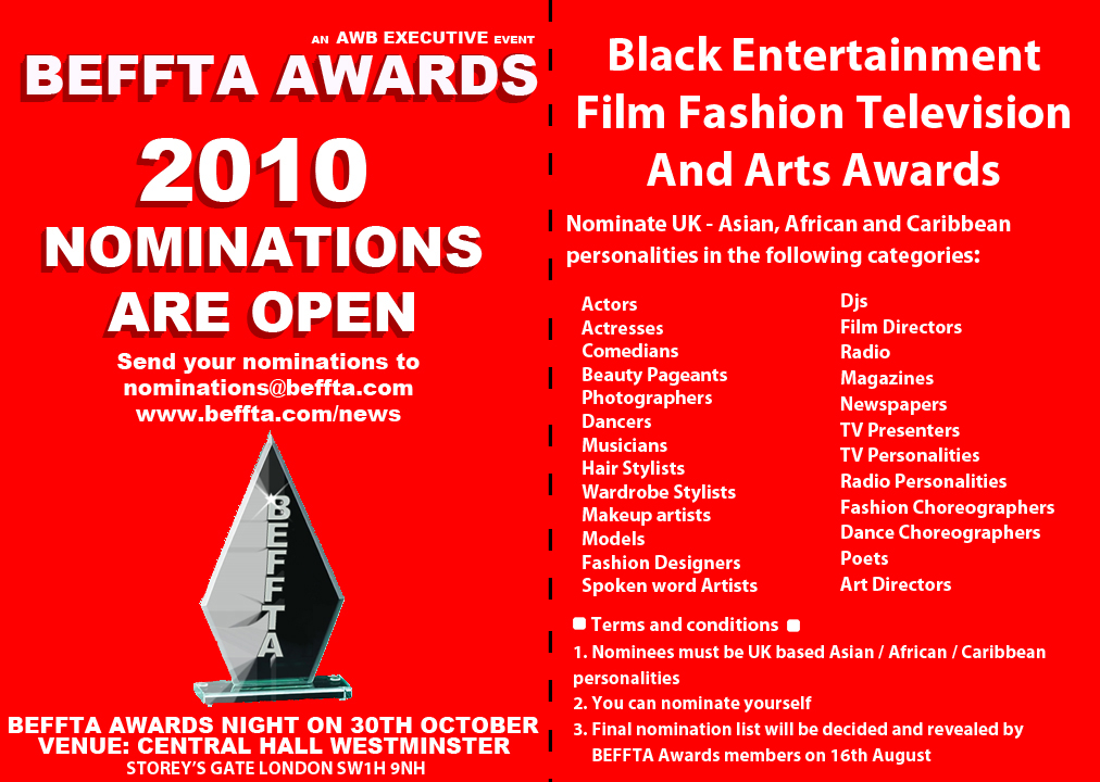 BEFFTA AWARDS UK NOMINATIONS - 2010