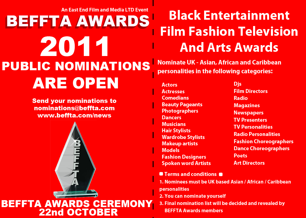 BEFFTA Awards 2011 public nominations are now open
