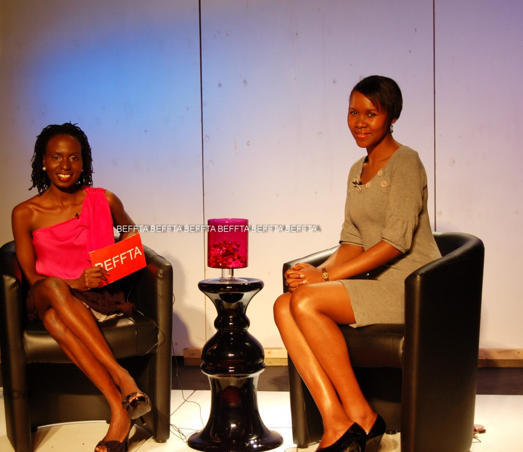BEFFTA show presenter and founder of global BEFFTA brand Pauline Long and Rosemary Chileshe on set of BEFFTA TV show.