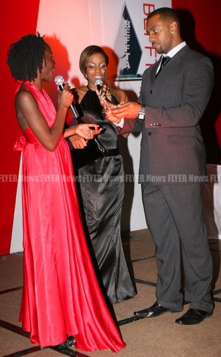 BEFFTA founder Pauline Long on stage with comedienne Miss London and comedian/actor Richard Blackhood