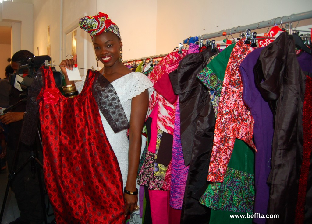 BEFFTA award-winning designer Asake of Asakeoge Couture shows off one of her collection that has similarities with a dress worn by Kate Duchess of Cambridge in a recent trip in Canada