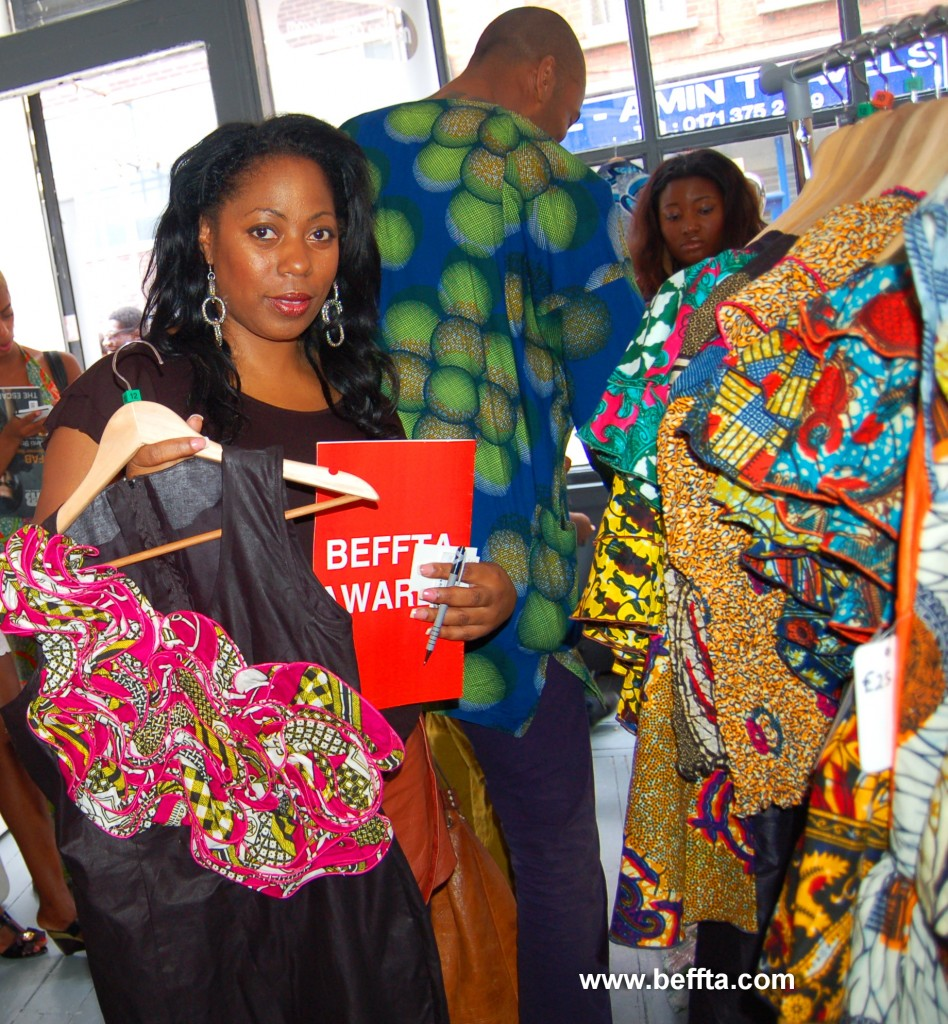 BEFFTA Member Verona White sampling the fabulous designs by Ayikai Couture