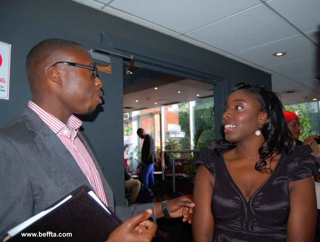 Meet The Adebanjos creator and producer Debra and co-producer Andrew catch up before the private screening begins