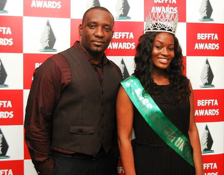 Nollywood uncut editor Dele with Miss Nigeria UK Victoria Okafor