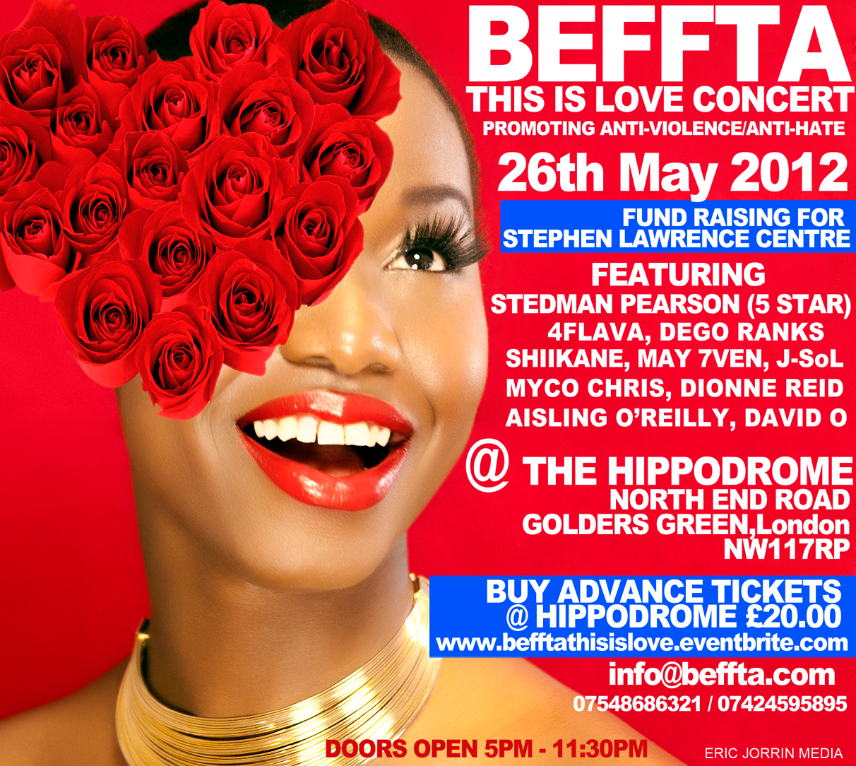 BEFFTA THIS IS LOVE CONCERT is raising funds and awareness for the Stephen Lawrence centre on 26th May at the Hippodrome, Golders Green