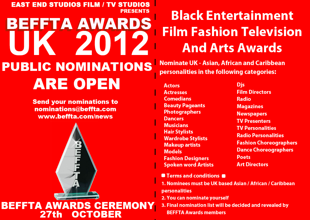 BEFFTA UK 2012 NOMINATIONS ARE OPEN UNTIL 14TH SEPTEMBER