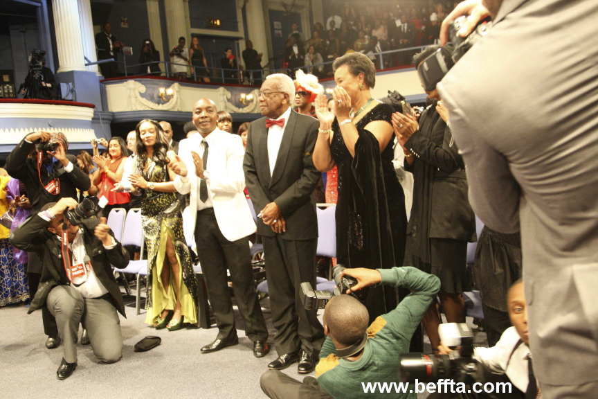 SIR TREVOR MCDONALD OBE GIVEN A STANDING OVATION AT BEFFTA UK AWARDS 2012 AS HE RECEIVES BEFFTA LIFETIME ACHIEVEMENT AWARD