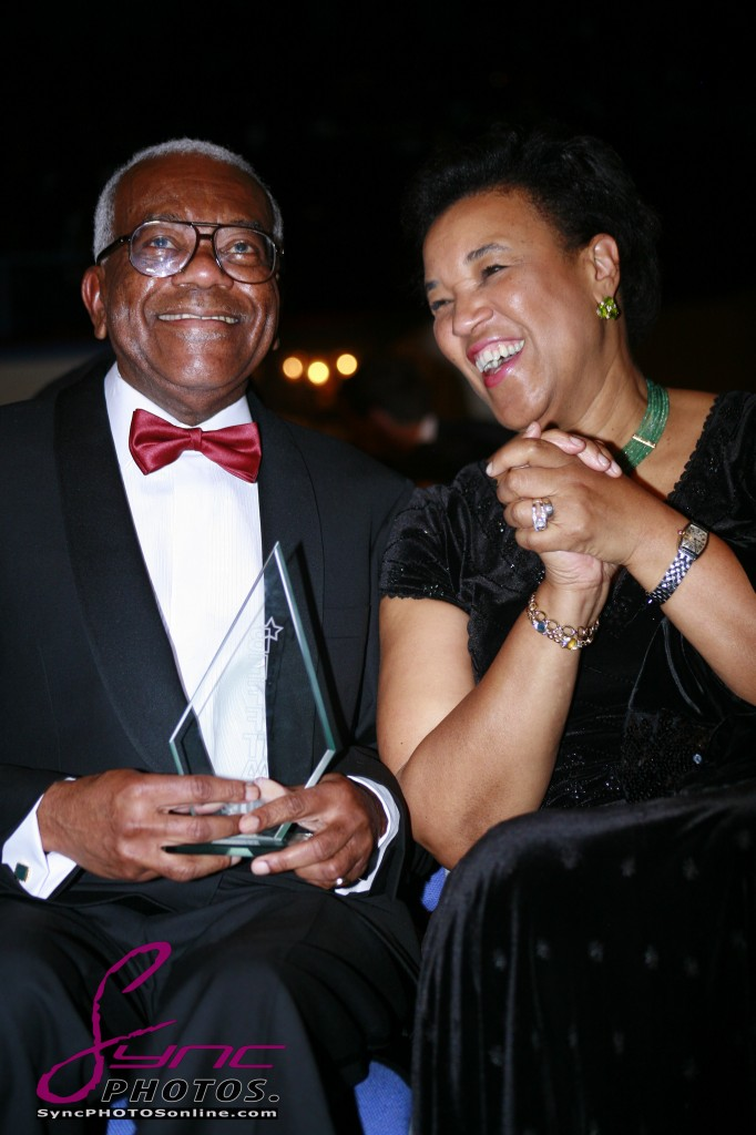Baroness Scotland congratulates Sir Trevor McDonald on receiving BEFFTA LIFETIME ACHIEVEMENT AWARD