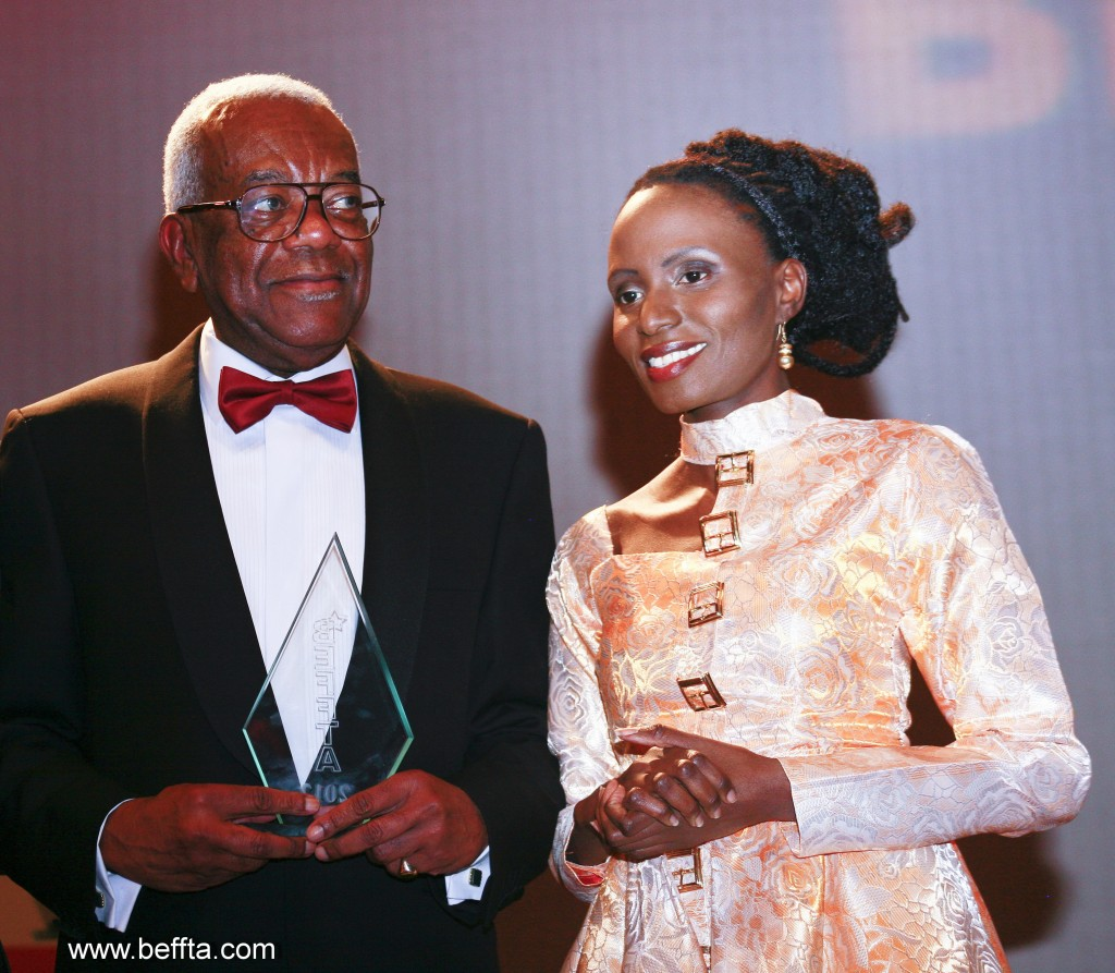 BEFFTA LIFETIME ACHIEVEMENT AWARD-WINNER SIR TREVOR MCDONALD OBE AND BEFFTA FOUNDER PAULINE LONG