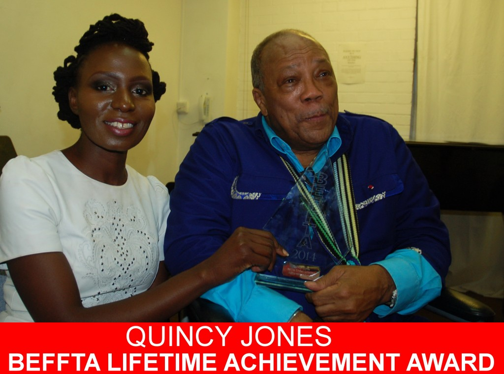 Music Mogul and Legend Quincy Jones receives BEFFTA GLOBAL LIFETIME ACHIEVEMENT AWARD presented to him by BEFFTA founder Pauline Long