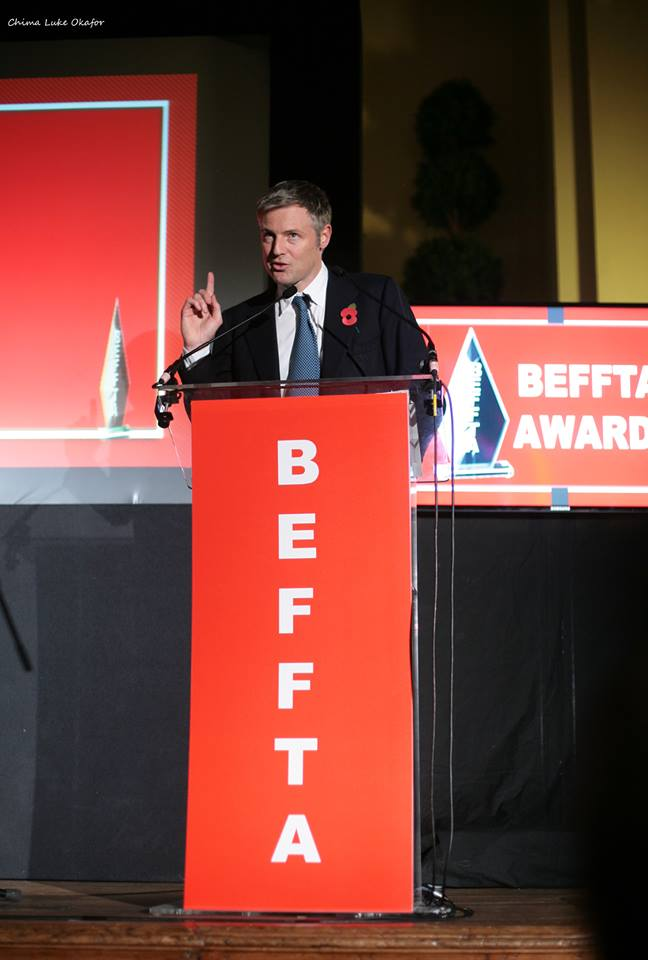 Zac Goldsmith praises the creative industry at the 7th BEFFTA Awards - London